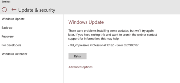 Windows Update error 0xc1900107