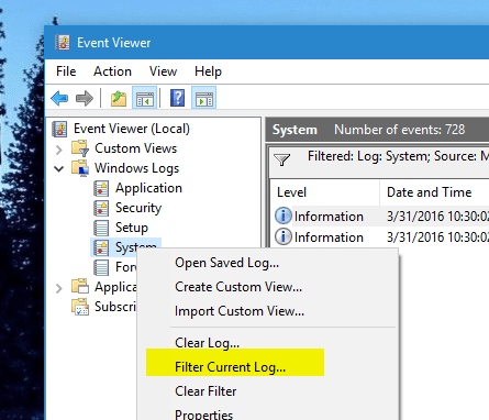 Event Viewer Filter current log - How To Use Windows Memory Diagnostic Tool to Find Out Defective RAM
