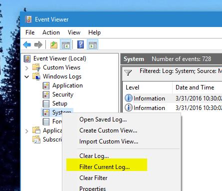 Event Viewer - Filter current log