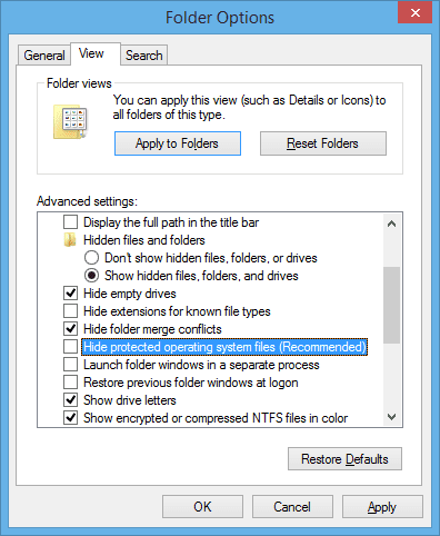 Folder Options 2016 03 30 22 40 44 - What is swapfile.sys in Windows 10 and Can I Delete it?