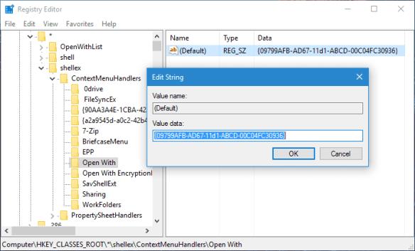 RegEdit - shellex - ContextMenuHandlers - Open With