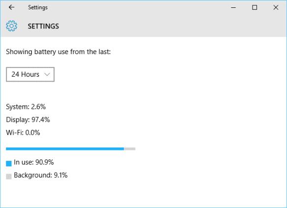 Windows 10 - Settings - System - Battery saver - battery use - app details app