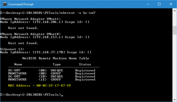 Command Prompt nbtstat 600x347 - Windows Quick Tip: How To Get MAC Address From a Remote Computer