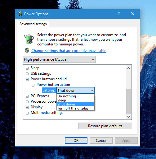 Windows 10 - Configure Power button