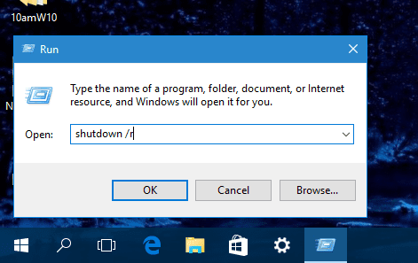 Windows 10 - Run - Shutdown