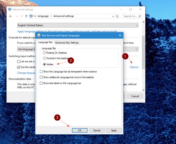 Control Panel - Language - Advanced Settings - options - hidden
