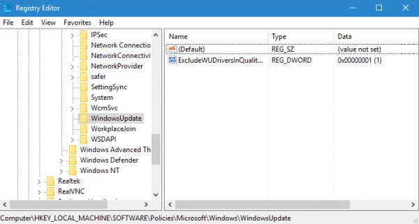 Registry Editor exclude drivers in windows udpates 600x321 - How To Disable Driver Update through Windows Update in Windows 10