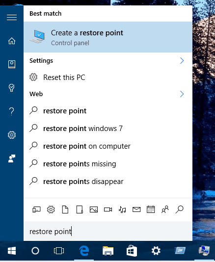 Windows 10 - Search Restore Point
