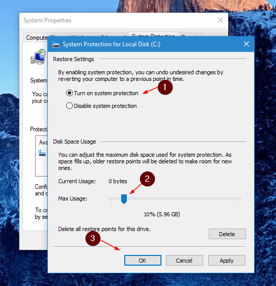 Windows 10 - turn on system protection