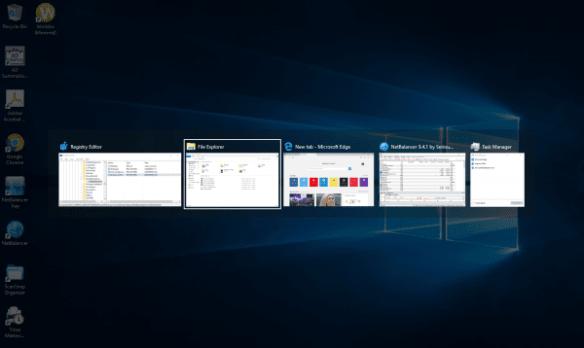 Alt+Tab dialog with 40% desktop dimming