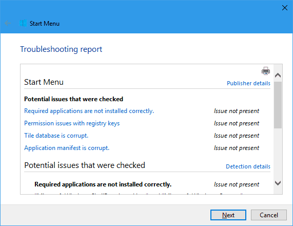 Start Menu Troubleshooter - report