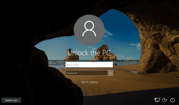 Windows 10 - Lock Screen - No Last Username