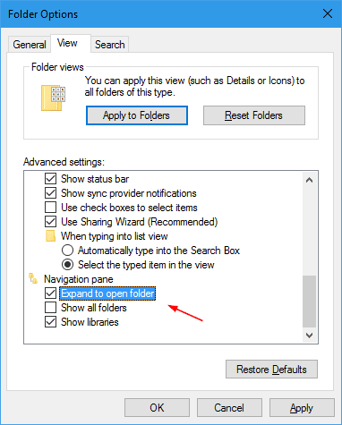 Folder Options - enable Expand to open folder