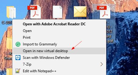 Open in new virtual desktop Context Menu