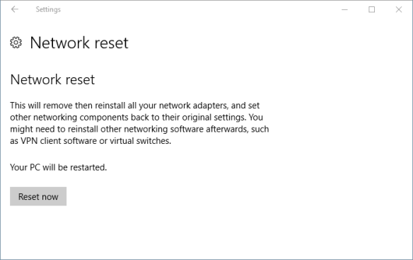 Settings - network - status - network reset