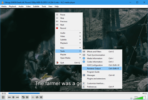 VLC right click Tools Render Output 600x407 - How To Stream From VLC Player to Chromecast on Windows