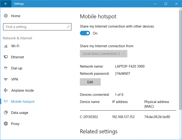 Windows 10 Settings Network Hotspot connected 600x462 - How To Enable WiFi Hotspot on Windows 10 without 3rd Party Tools