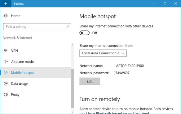 Windows 10 - Settings - Network - hotspot