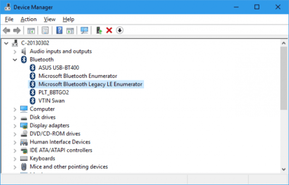 Device Manager - bluetooth