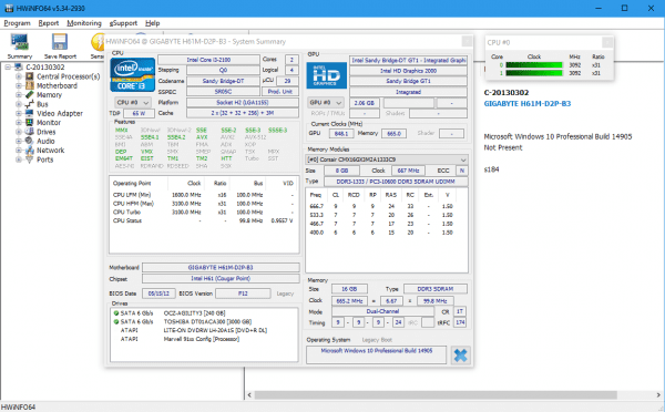 HWiNFO main screen with summary 600x372 - HWiNFO - A Free Powerful System Information and Monitoring Tool for Windows