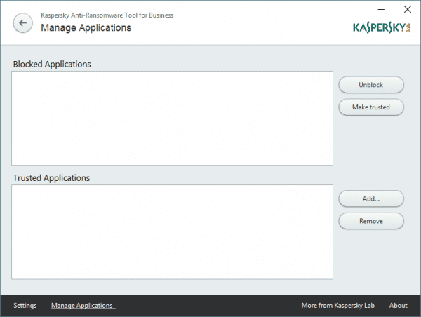 Kaspersky Anti-Ransomware Tool for Business more applications