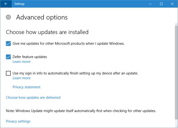 Settings - Update - advanced options