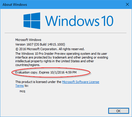 About Windows 14915 2 - There is An Expiration Day in Your Windows 10 Insider Build