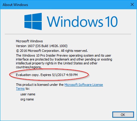 About Windows 14926 2 - There is An Expiration Day in Your Windows 10 Insider Build