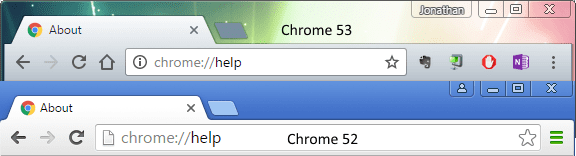 chrome53vs52 thumb - Chrome 53 on Windows 10 - How To Disable Material Design