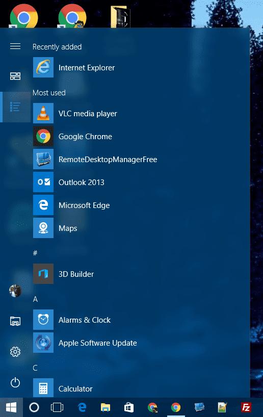 Start Menu - App List view