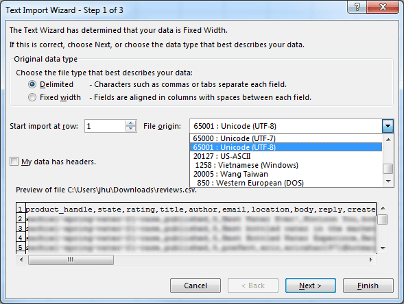 How To Display CSV Files with Unicode UTF-8 Encoding in Excel - Next