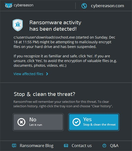 1482226730 cyberreason cerber detected - RansomFree to Protect Your PC From All Kinds of Ransomware