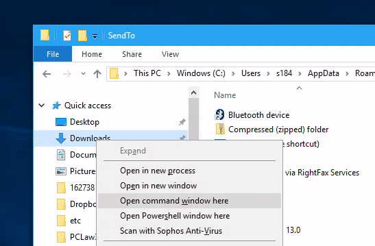 "Windows 10 both command prompt and powershell context menu - How to Bring ""Open Command Window here"" Option Back in Windows 10"