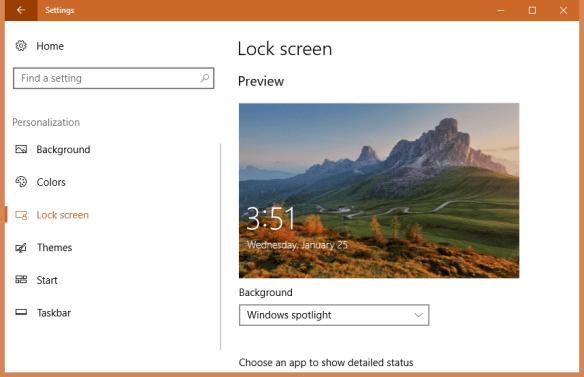 Settings Lock Screen 600x387 - How To Set Spotlight Lock Screen Image as Wallpaper on Windows 10 Desktop