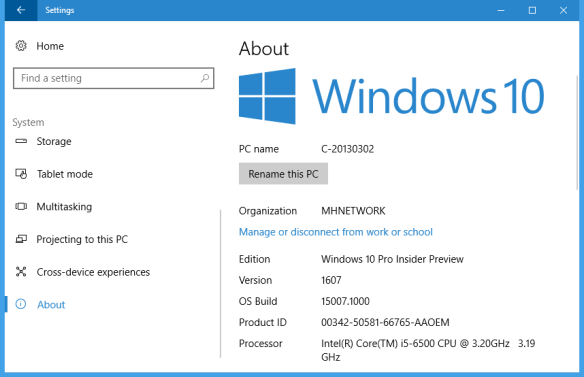 Windows 10 settings system about 600x387 - Windows 10 Tip: What Does the Version Value Number Mean