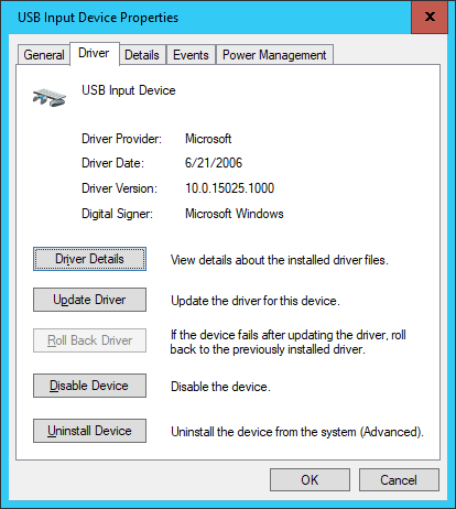 USB Input Device Properties - Why are All Windows Drivers Dated June 21, 2006?