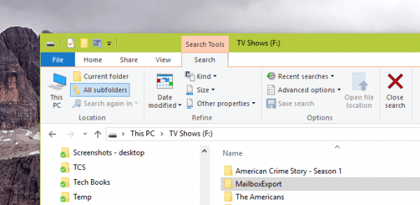 Windows 10 File Explorer Search Ribbon 600x293 - Windows Tip: How To Search Large Files using File Explorer or Windows Explorer