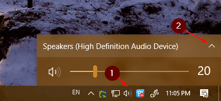 Windows 10 speaker icon system tray - Windows 10 Tip: How To Quickly Switch Sound Playback Device