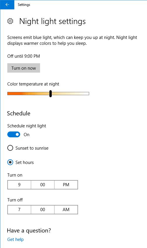 2017 03 28 1125 - New Night Light Settings - Windows 10 Creators Update