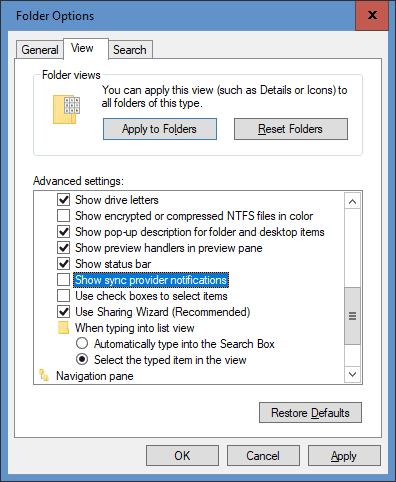 Folder Options show sync provider notification - Disabling OneDrive Ads from Displaying in File Explorer in Windows 10