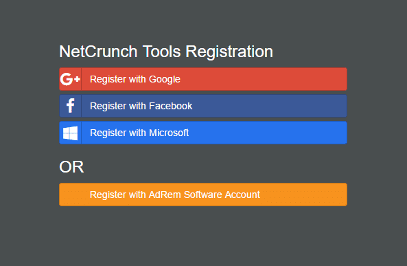 NetCrunch registration options - NetCrunch Tools 2.0 - Essential Network Toolkit for Windows