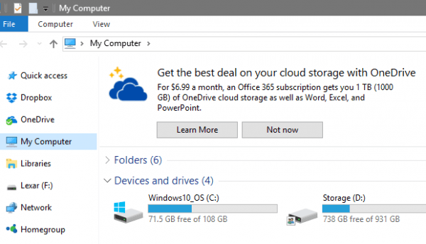 OneDrive ads in File Explorer 600x344 - Disabling OneDrive Ads from Displaying in File Explorer in Windows 10