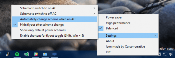 PowerPlanSwitcher settins 600x201 - Changing the Power Plan Right from System Tray in Windows 10