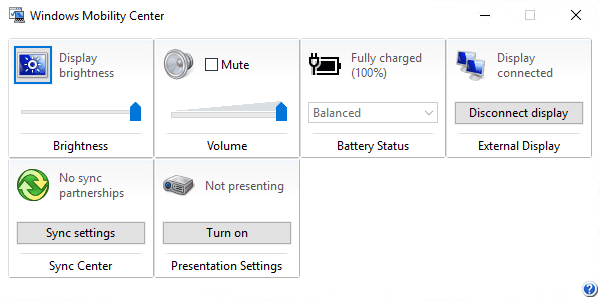 Windows Mobility Center 600x301 - Changing the Power Plan Right from System Tray in Windows 10