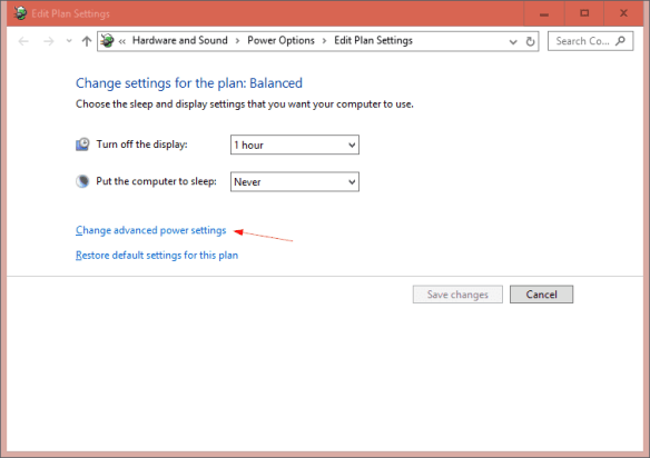 Edit Plan Settings go to advanced power settings 600x423 - Windows 10 Tip: How To Set Power Button to Turn Off Monitors