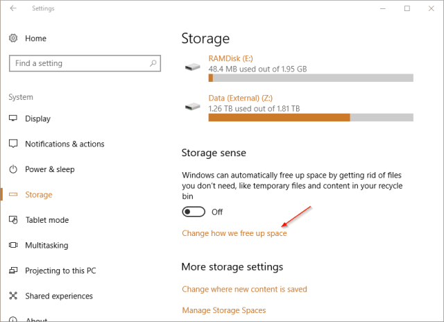 Settings System Storage link - Windows 10 Tip: Can I Clean Up Downloads Folder Automatically?