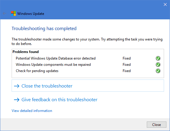 Windows Update Troubleshoot fixed - Fixing Can't Install .NET Framework 3.5 Feature with Error 0x800F081F on Windows 10
