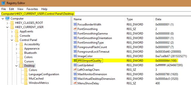 Registry Editor 2017 06 02 23 36 31 - Disabling Wallpaper Image Compression on Windows