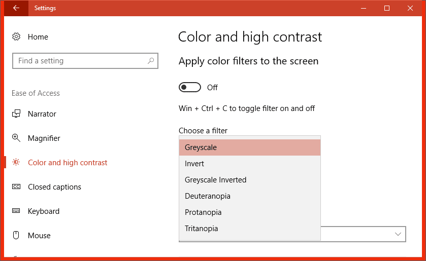 Settings easy of access color - Windows 10 Tip: How To Turn On Color Filters to Grayscale Your Whole Desktop