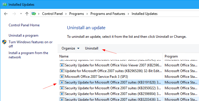 Uninstall Outlook patch - Fix Outlook Blocked Access Potential Unsafe Attachments After June 2017 Update